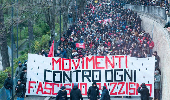 Italy protests: Thousands in demonstrations after shooting spree just days before election