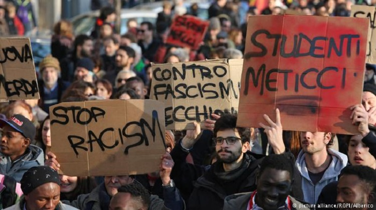 Anti-fascist protesters rally against racism in Italy