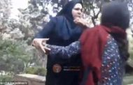 """Screaming woman 'is viciously beaten by women in Iran because her red headscarf is deemed an """"insufficient"""" hijab'"""