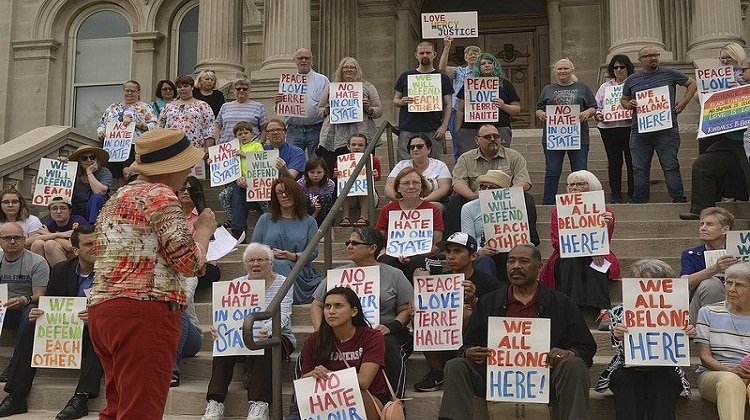 Crowd presents 'a united front' against racism in Terre Haute