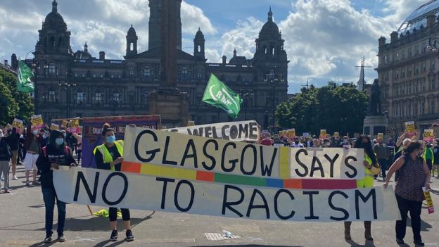 Hundreds attend anti-racism rally in Glasgow